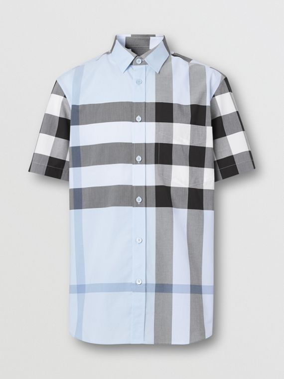 Short-sleeve Check Stretch Cotton Poplin Shirt in Chalk Blue