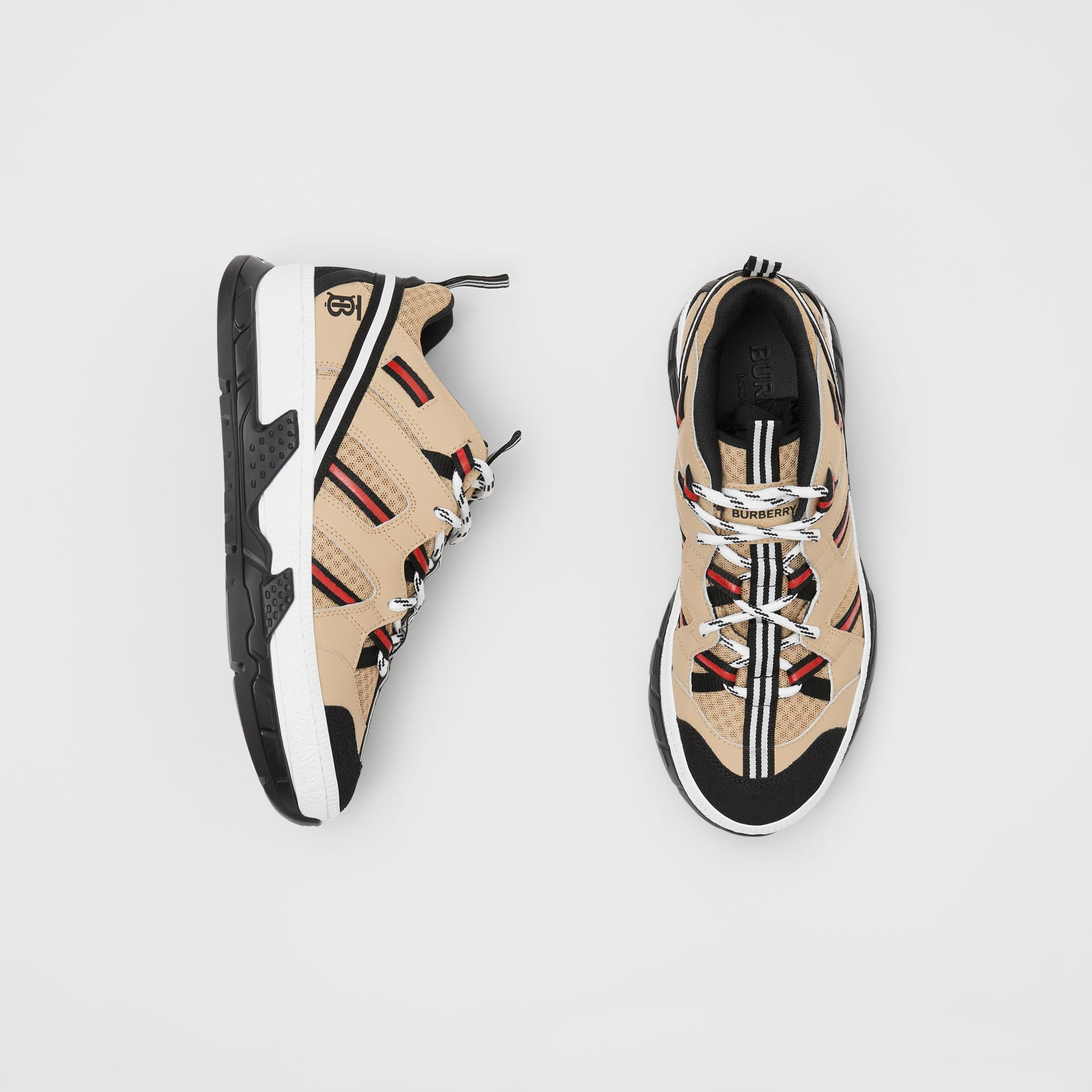 Monogram Motif Mesh and Leather Sneakers in Beige - Women | Burberry - gallery image 0