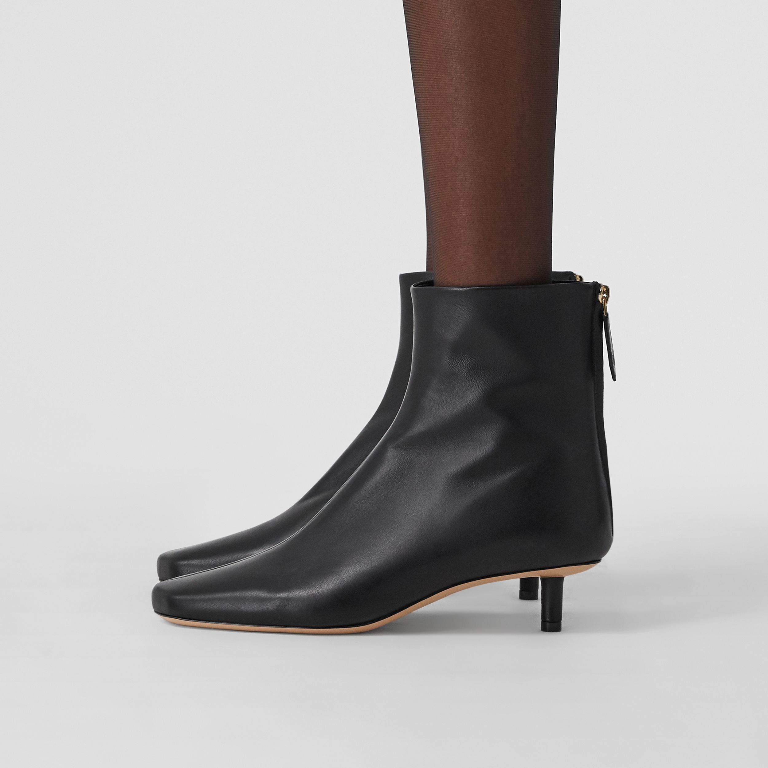 Lambskin Sculptural Kitten-heel Ankle Boots in Black - Women | Burberry - 3