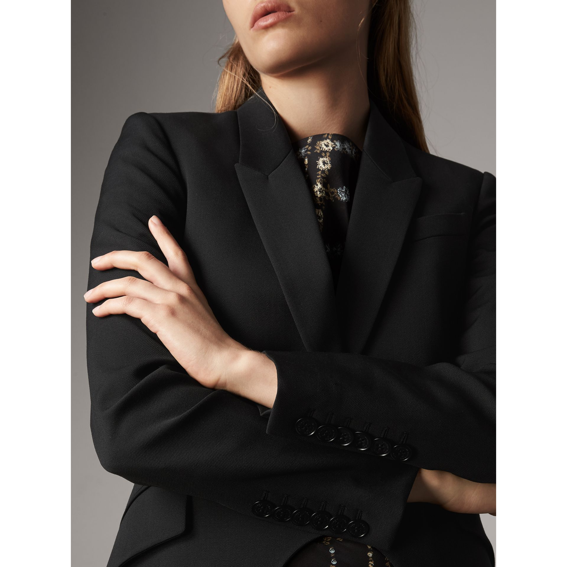 Cut-out Detail Tailored Wool Riding Jacket in Black - Women | Burberry United Kingdom - gallery image 1