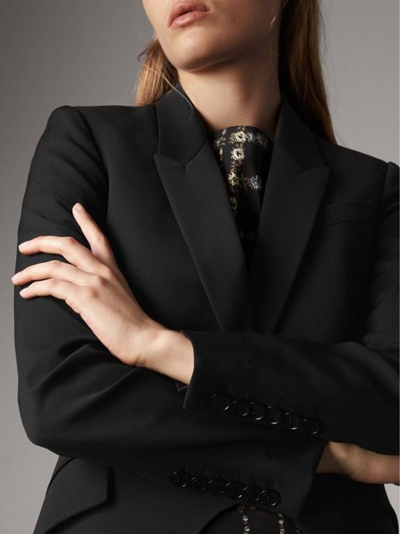 Jaqueta de montaria de lã com recorte frontal (Preto) - Mulheres | Burberry - cell image 1