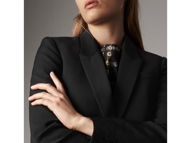 Cut-out Detail Tailored Wool Riding Jacket in Black - Women | Burberry - cell image 1