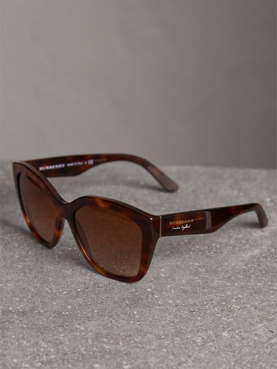Square Frame Sunglasses in Light Brown - Women | Burberry United States - cell image 2