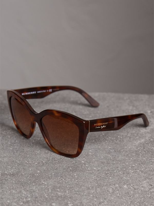 Square Frame Sunglasses in Light Brown - Women | Burberry Singapore - cell image 2