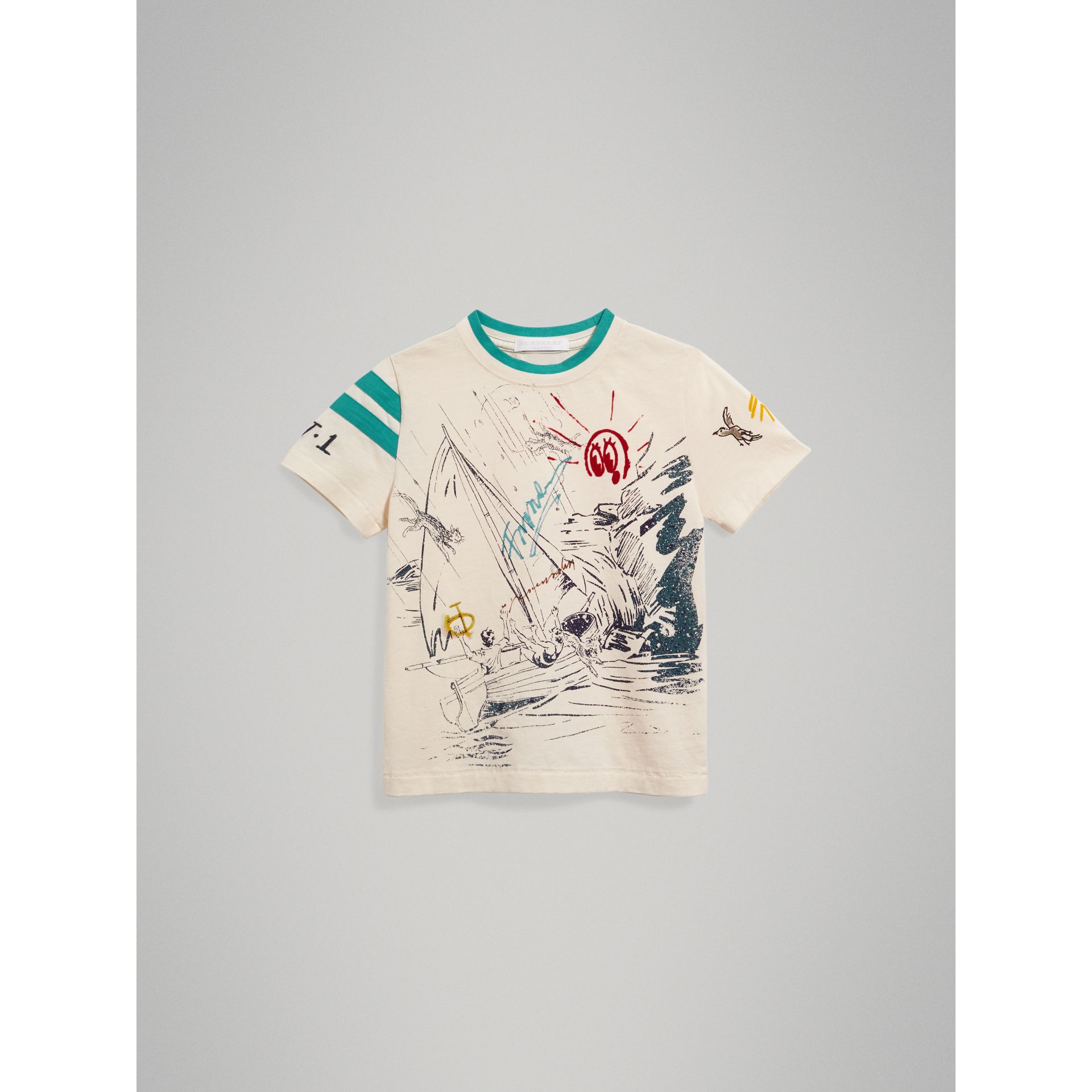 Adventure Motif Cotton T-shirt in White - Boy | Burberry - gallery image 2