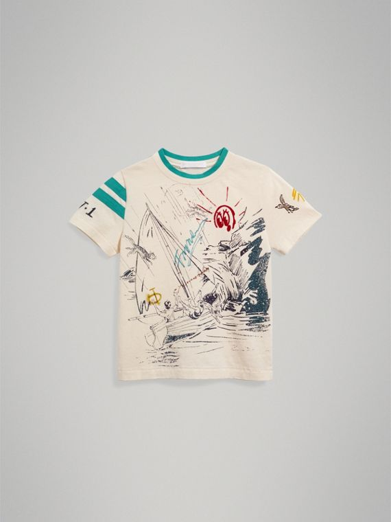Adventure Motif Cotton T-shirt in White - Boy | Burberry Australia - cell image 2