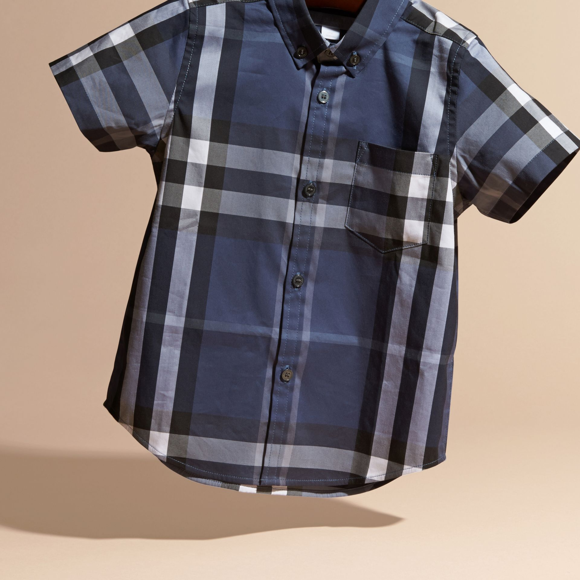 Thistle blue Short-sleeve Check Cotton Twill Shirt - gallery image 3