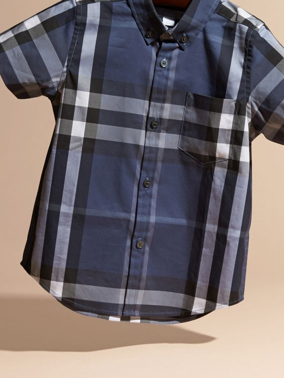 Thistle blue Short-sleeve Check Cotton Twill Shirt - cell image 2