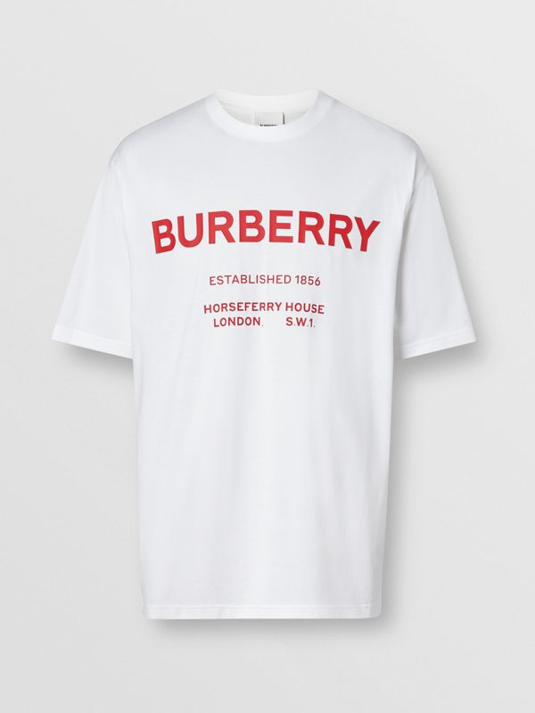 Horseferry Print Cotton T-shirt in White - Men | Burberry - cell image 3