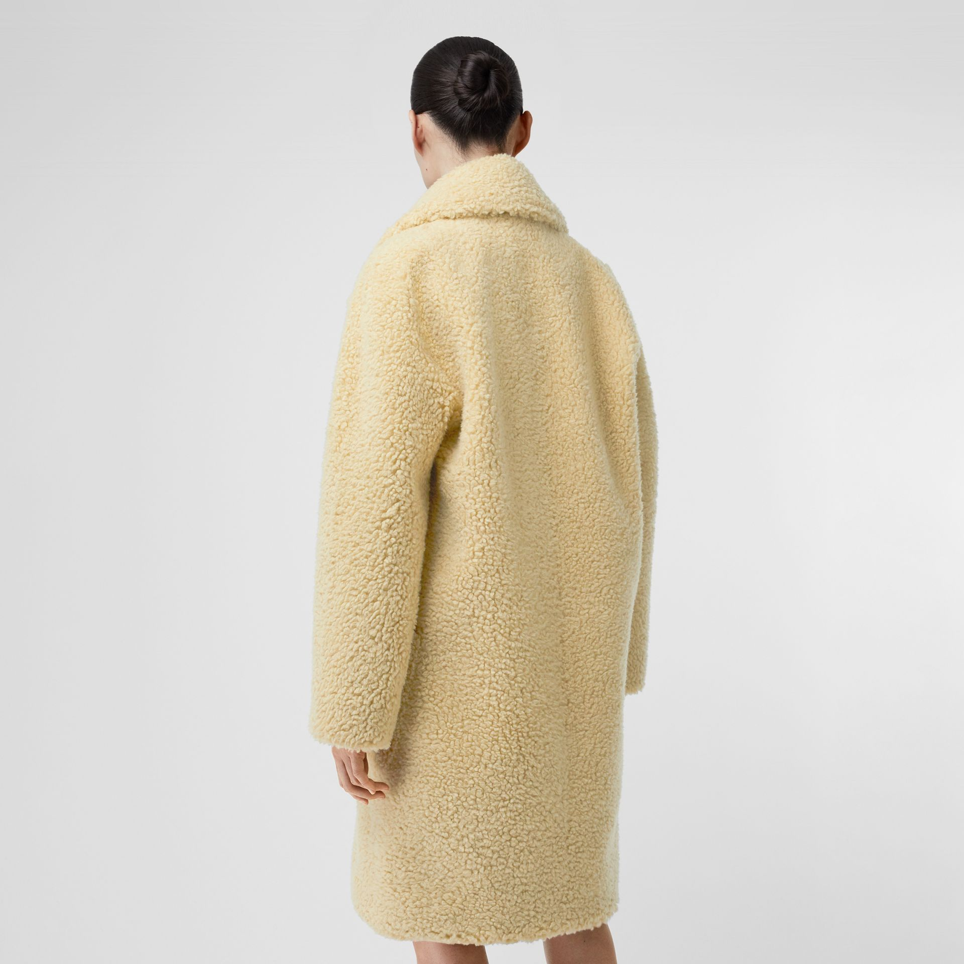 Faux Shearling Double-breasted Oversized Coat in Camomile - Women | Burberry - gallery image 2