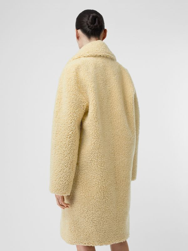 Faux Shearling Double-breasted Oversized Coat in Camomile - Women | Burberry - cell image 2