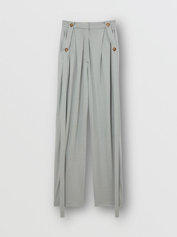 Strap Detail Jersey Tailored Trousers in Heather Melange - Women | Burberry - cell image 3
