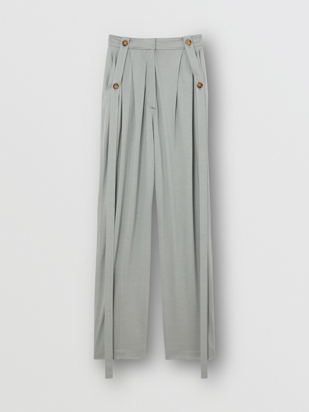 Strap Detail Jersey Tailored Trousers in Heather Melange