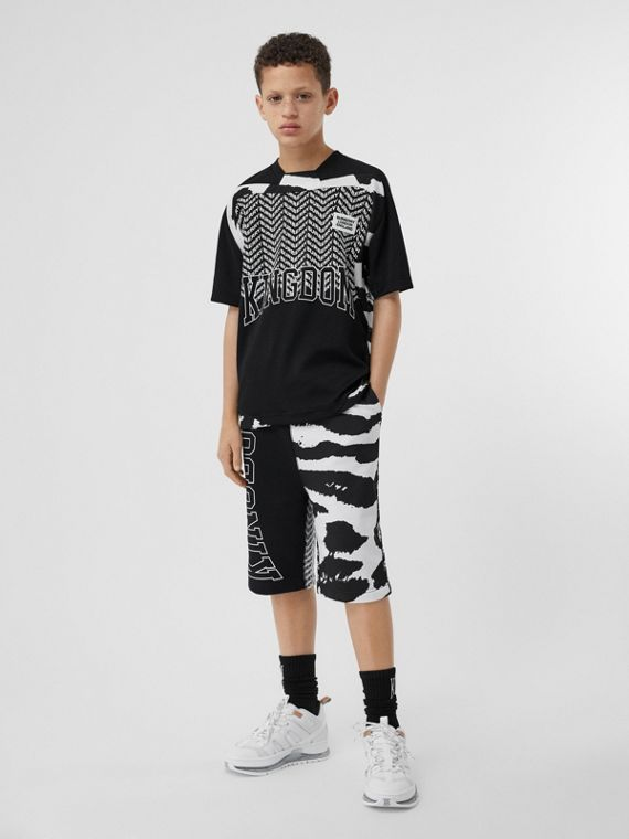 Kingdom Print Cotton Drawcord Shorts in Black