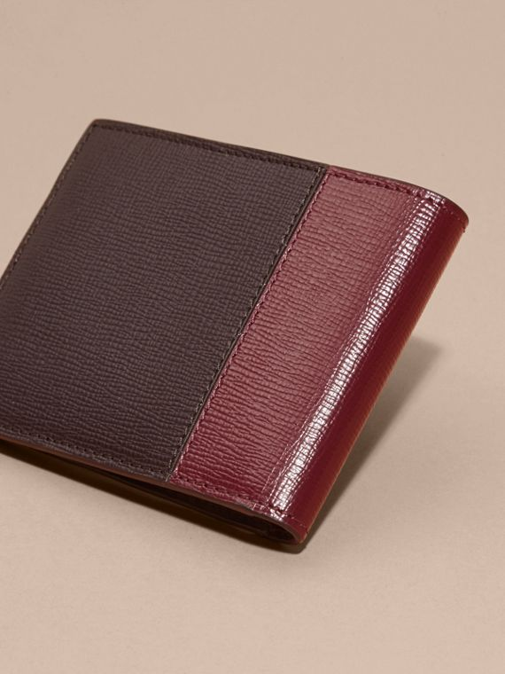 Wine/burgundy red Panelled London Leather Folding Wallet - cell image 3
