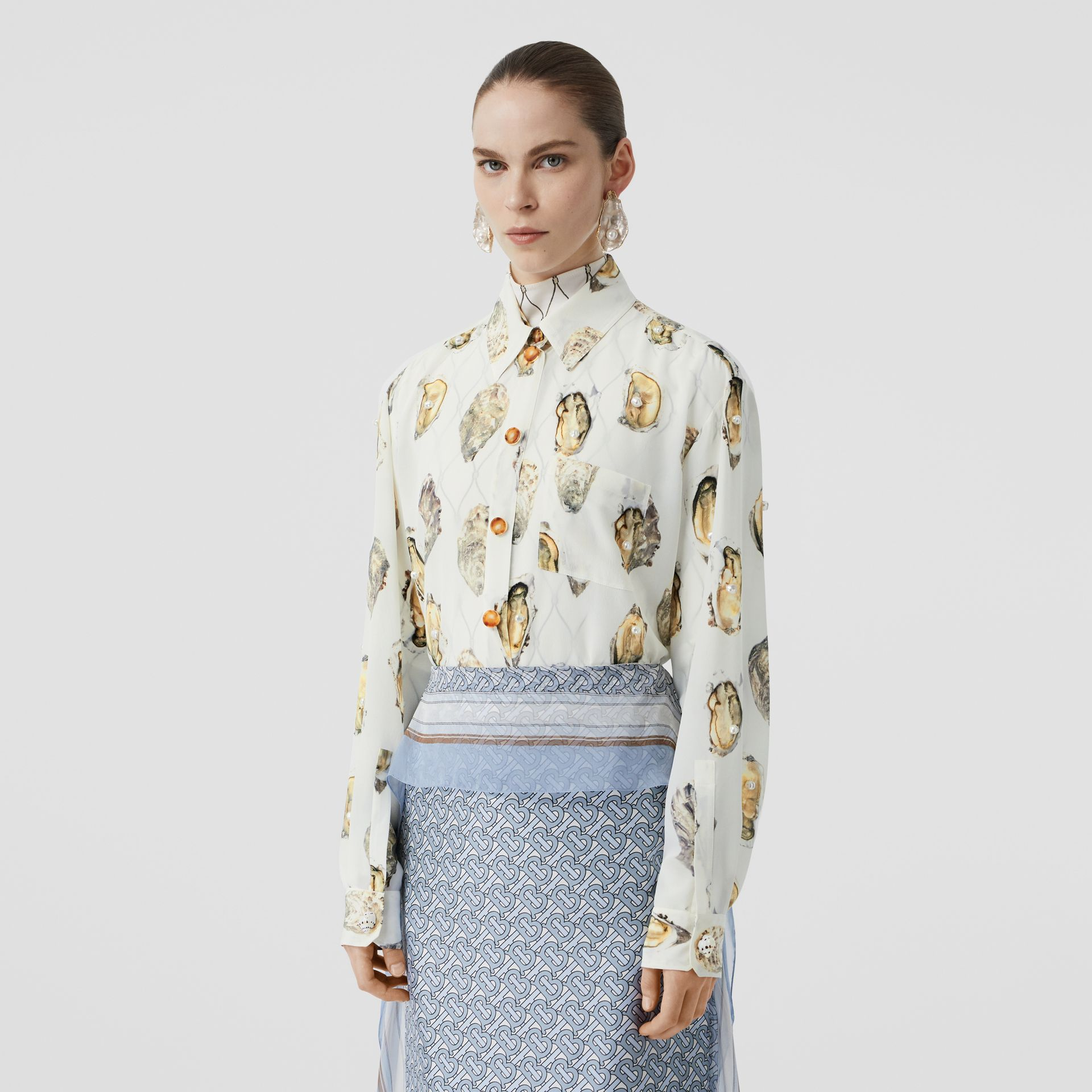 Embellished Oyster Print Silk Oversized Shirt in White - Women | Burberry - gallery image 5