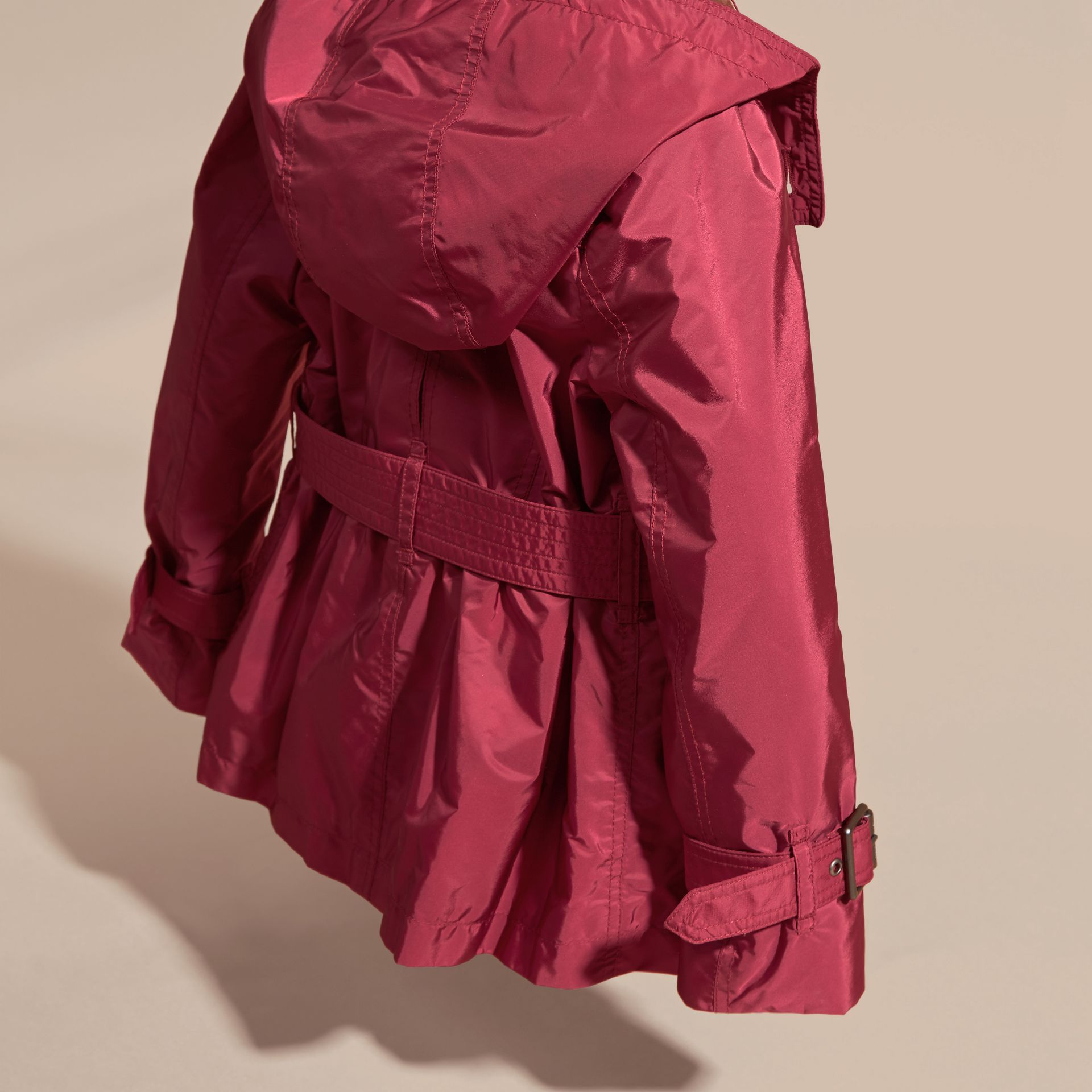 Dark plum pink Technical Detachable Hood Trench Coat - gallery image 4