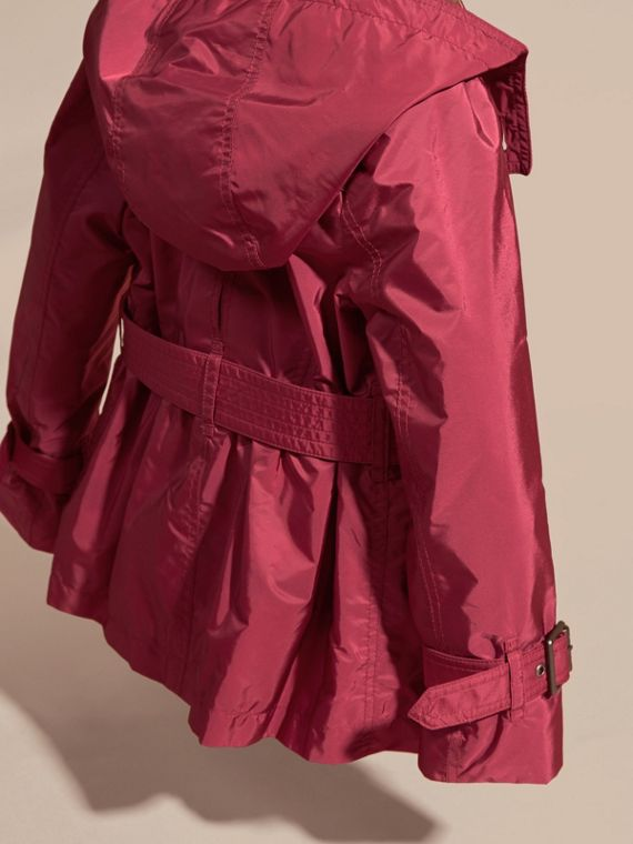 Dark plum pink Technical Detachable Hood Trench Coat - cell image 3