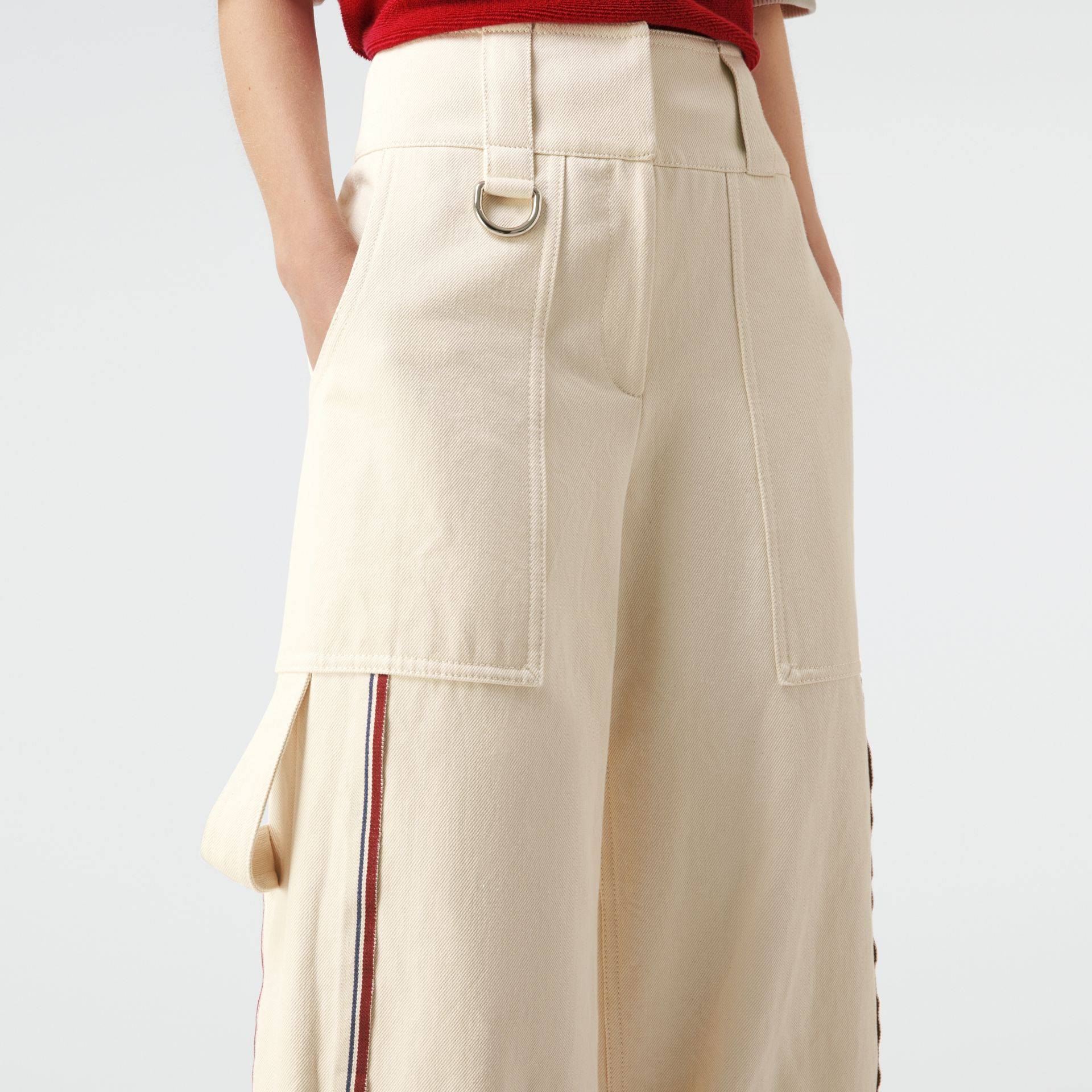 Stripe Detail Cotton Cropped Wide-leg Trousers in Natural White - Women | Burberry - gallery image 1