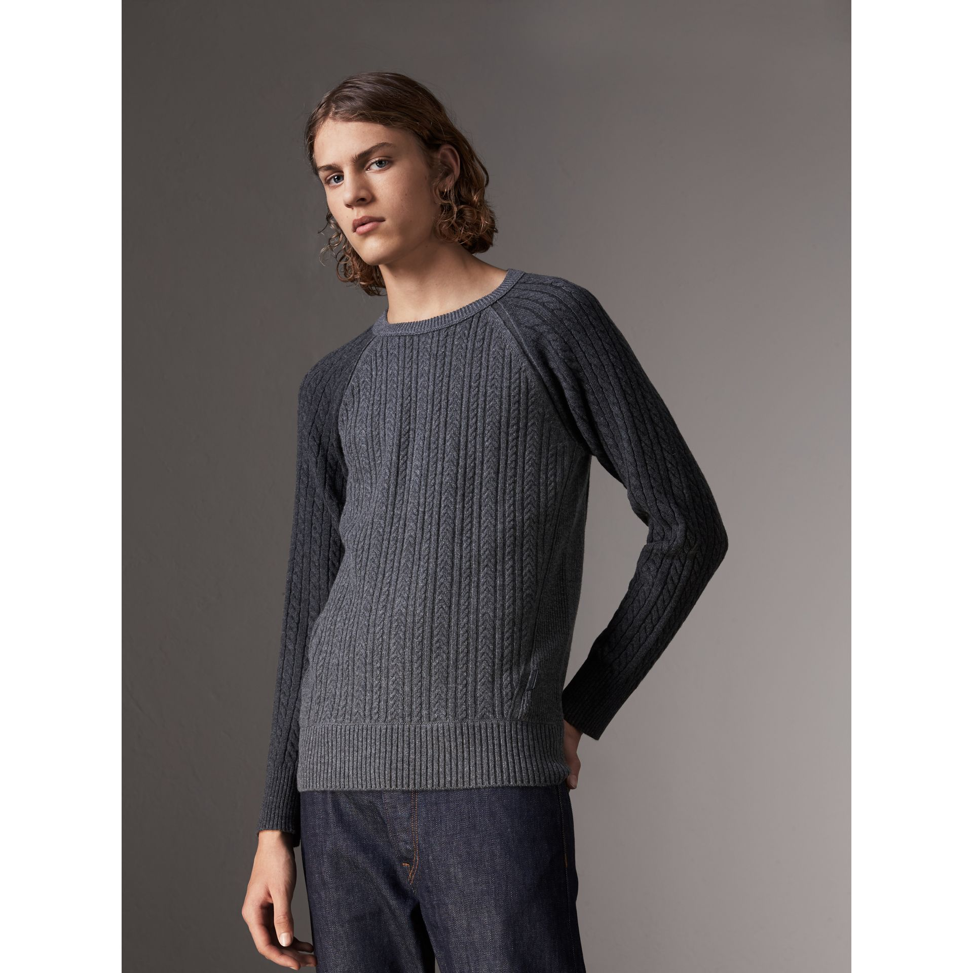 Two-tone Cable Knit Cashmere Sweater in Charcoal - Men | Burberry - gallery image 0