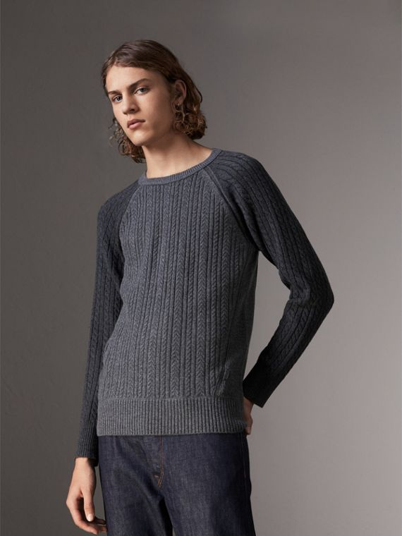 Two-tone Cable Knit Cashmere Sweater in Charcoal