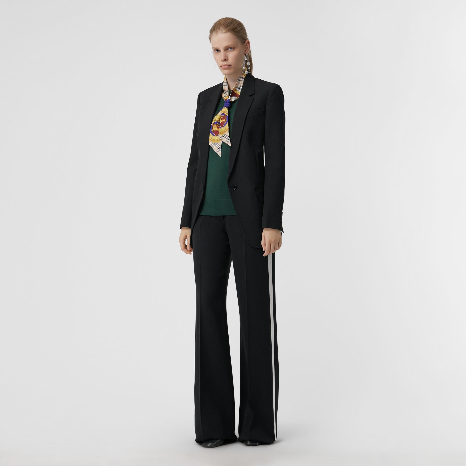 Jersey en lana de merino con cuello redondo (Verde Bosque Oscuro) - Mujer | Burberry - imagen de la galería 0