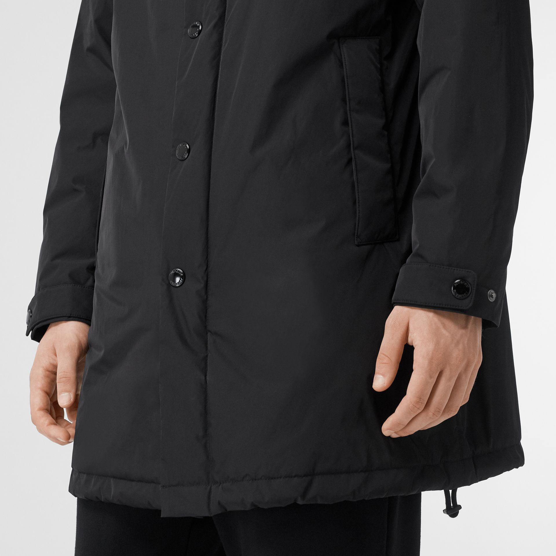 Monogram Motif Nylon Twill Hooded Coat in Black - Men | Burberry Canada - gallery image 4