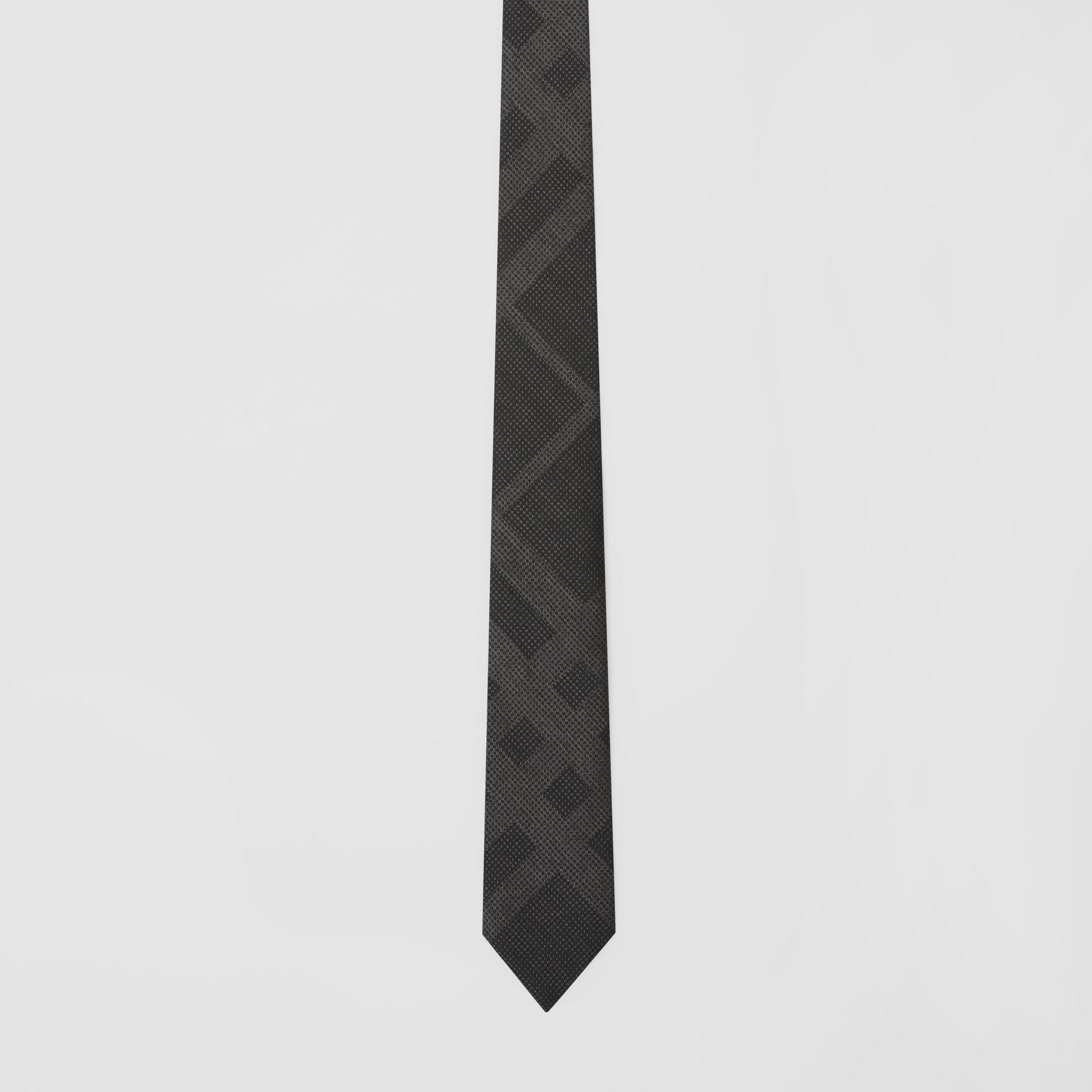 Classic Cut Check Silk Tie in Dark Grey Melange - Men | Burberry - 4