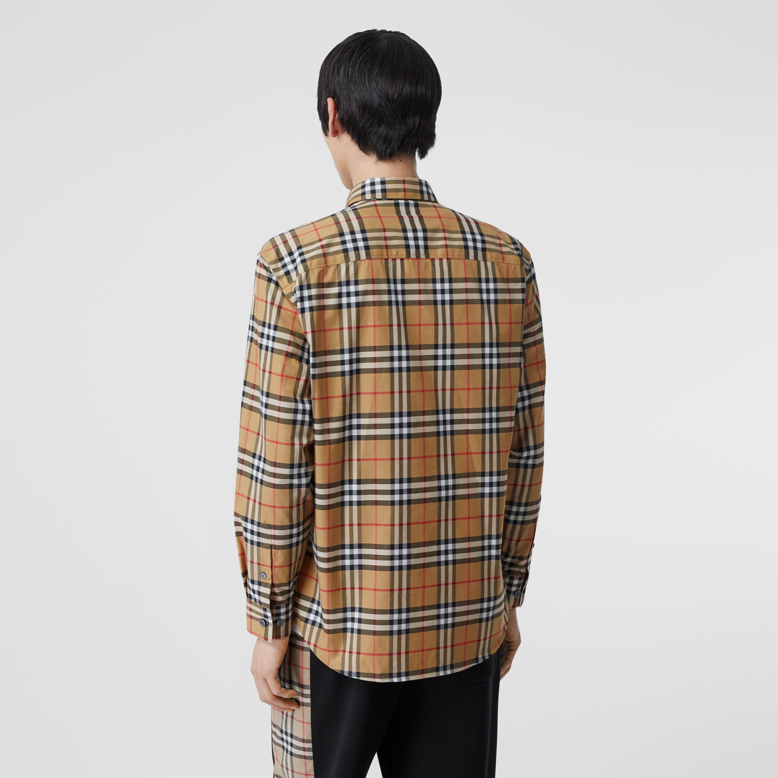 Button-down Collar Vintage Check Cotton Shirt in Antique Yellow - Men | Burberry - 3