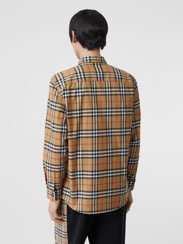 Button-down Collar Vintage Check Cotton Shirt in Antique Yellow - Men | Burberry United Kingdom - cell image 2