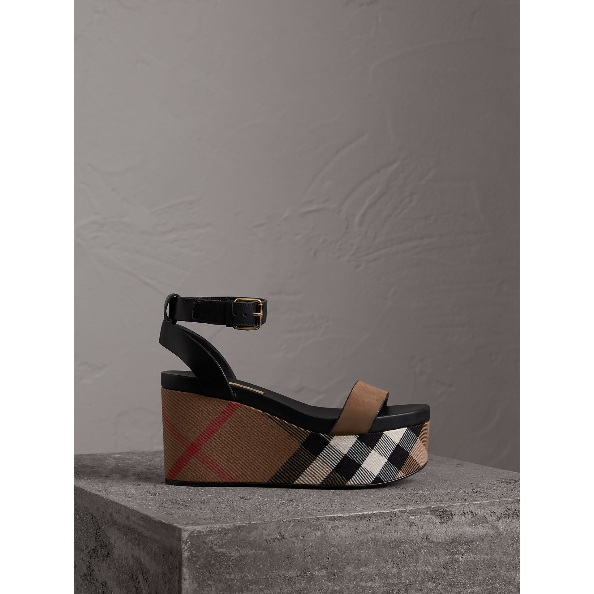 House Check and Leather Wedge Sandals in Dark Heather Melange - Women | Burberry United States - gallery image 1
