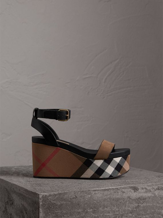 House Check and Leather Wedge Sandals in Dark Heather Melange