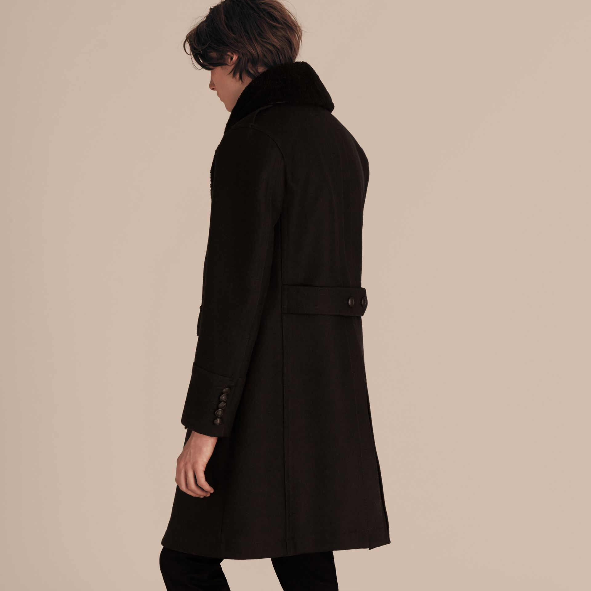 Black Technical Wool Greatcoat with Detachable Shearling Collar - gallery image 3