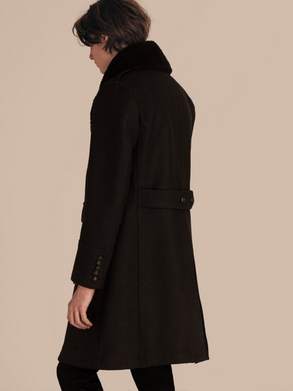 Black Technical Wool Greatcoat with Detachable Shearling Collar - cell image 2