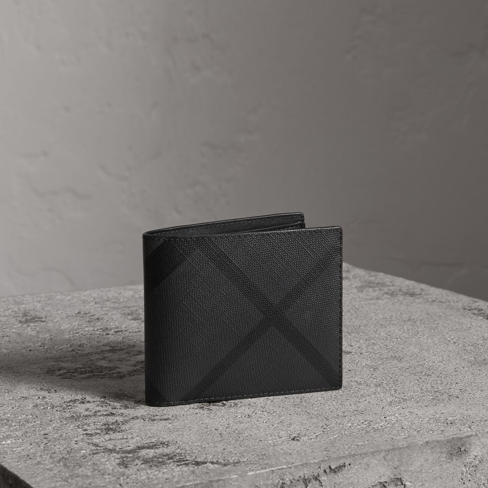 London Check Bifold Wallet with Removable Card Case in Charcoal/black - Men | Burberry - gallery image 0