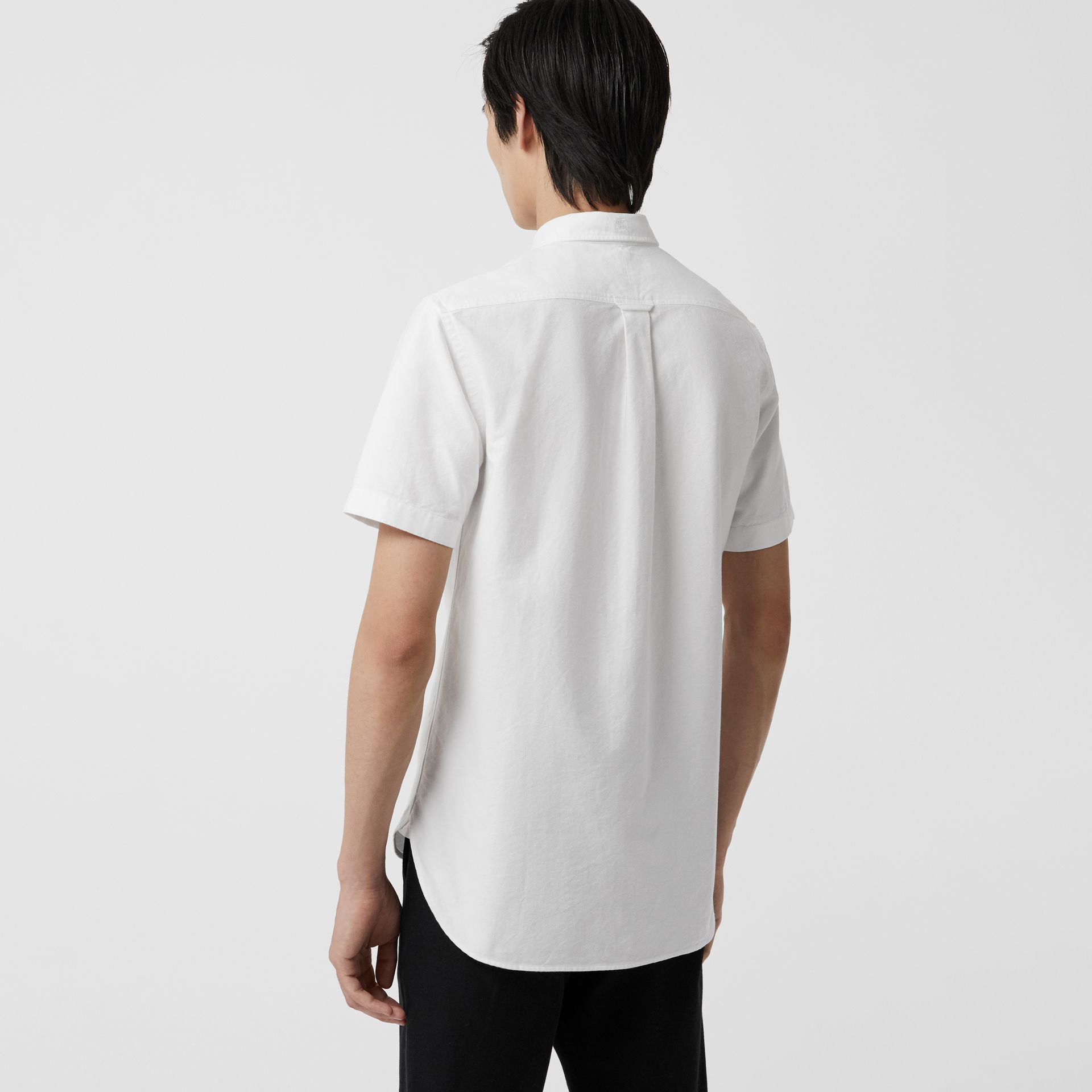 Short-sleeve Cotton Oxford Shirt in White - Men | Burberry Australia - gallery image 2