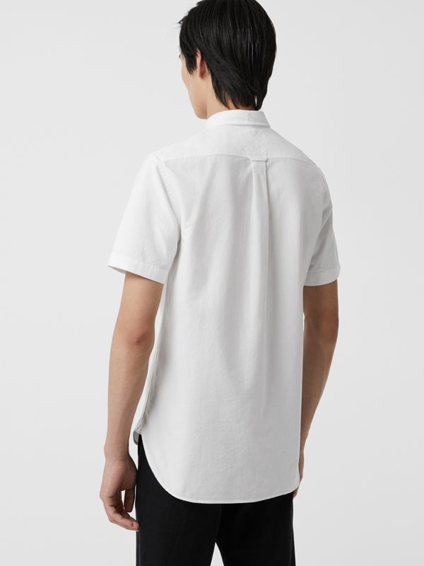 Short-sleeve Cotton Oxford Shirt in White - Men | Burberry Australia - cell image 2