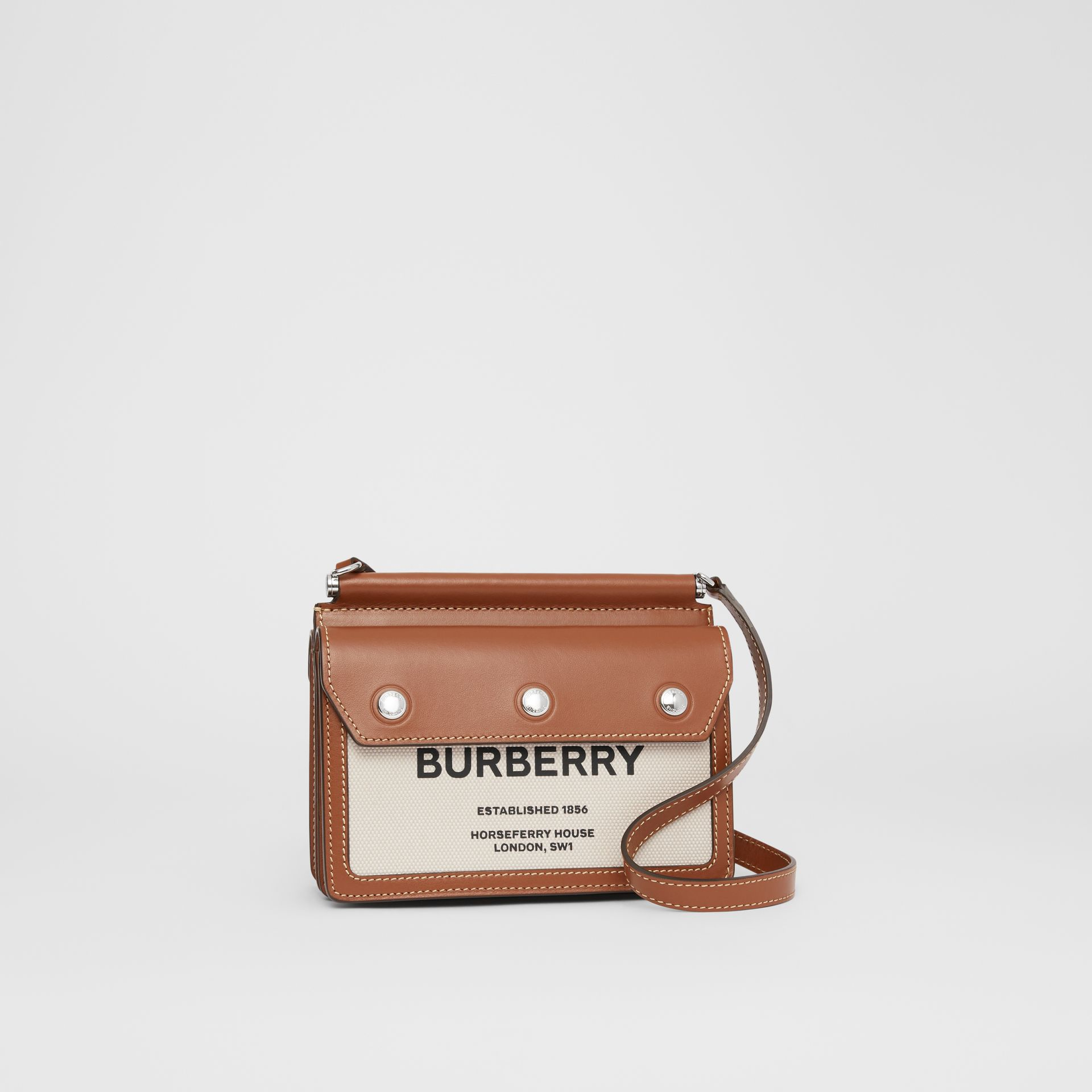 Mini Horseferry Print Title Bag with Pocket Detail in Natural/malt Brown - Women | Burberry Australia - gallery image 6