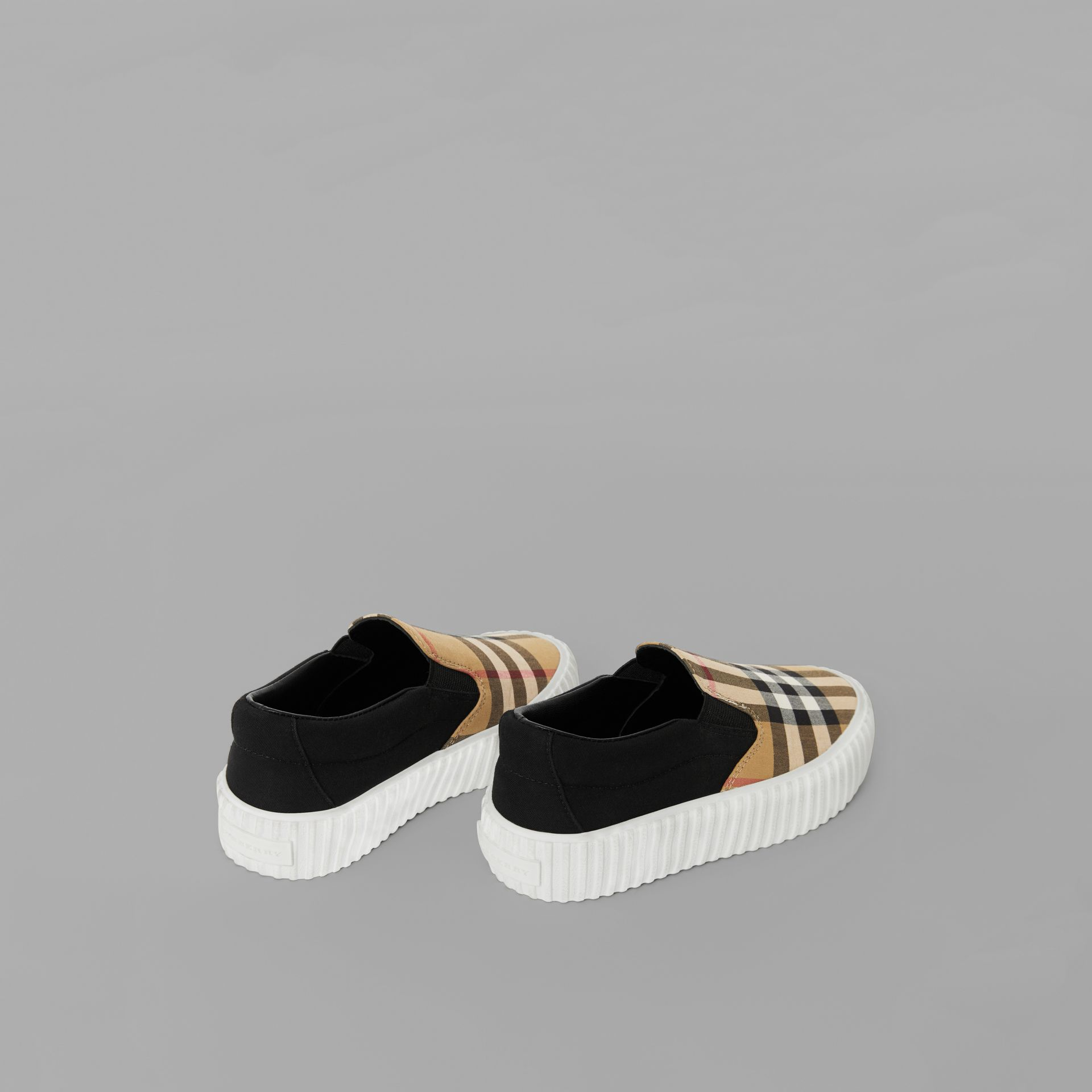 Vintage Check Detail Slip-on Sneakers in Black/antique Yellow - Children | Burberry United Kingdom - gallery image 2
