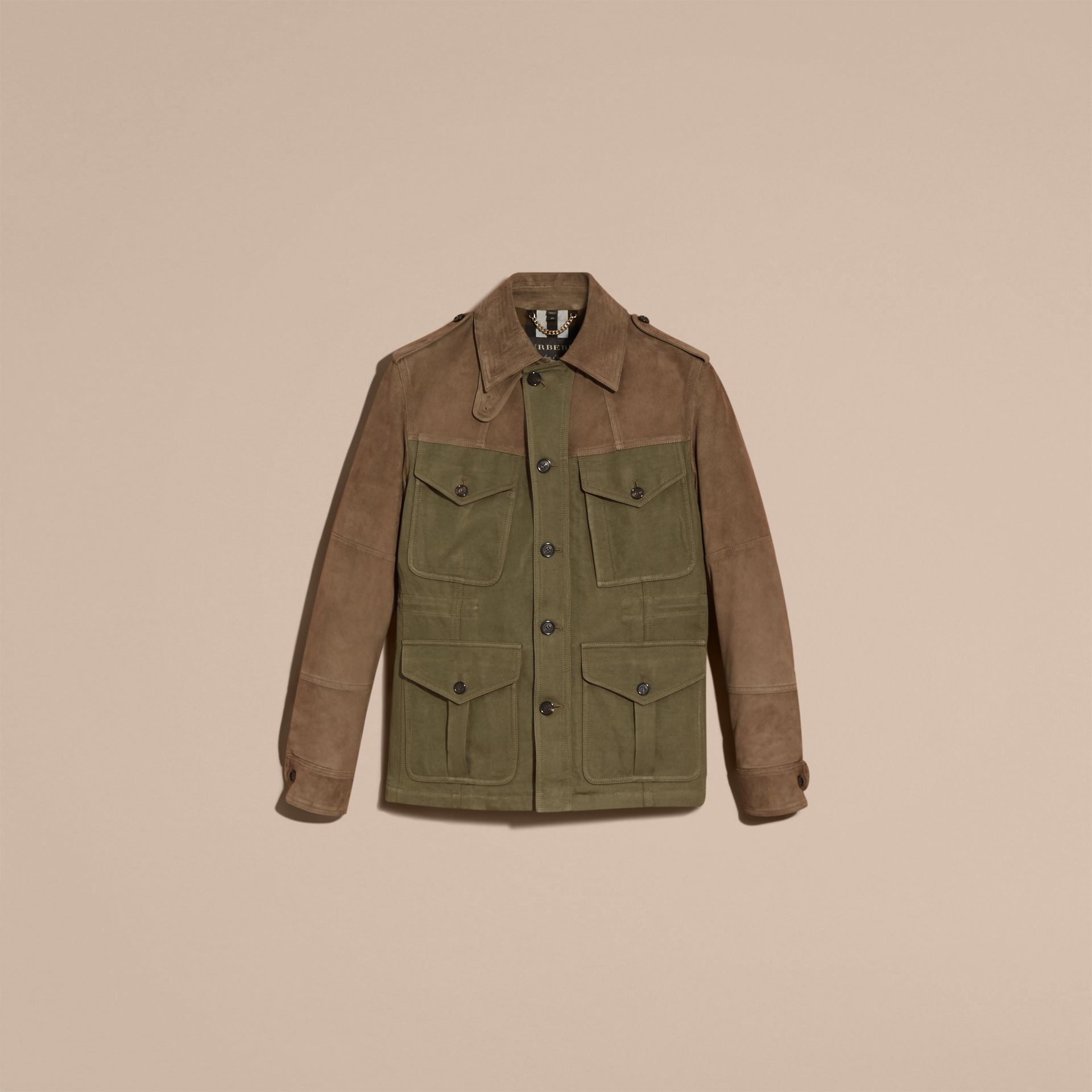 Military green Ramie Cotton and Suede Field Jacket - gallery image 4