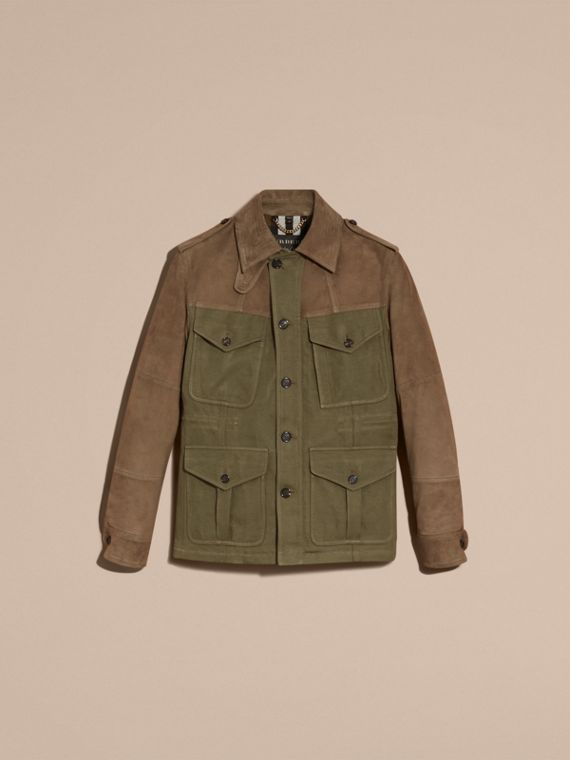 Military green Ramie Cotton and Suede Field Jacket - cell image 3