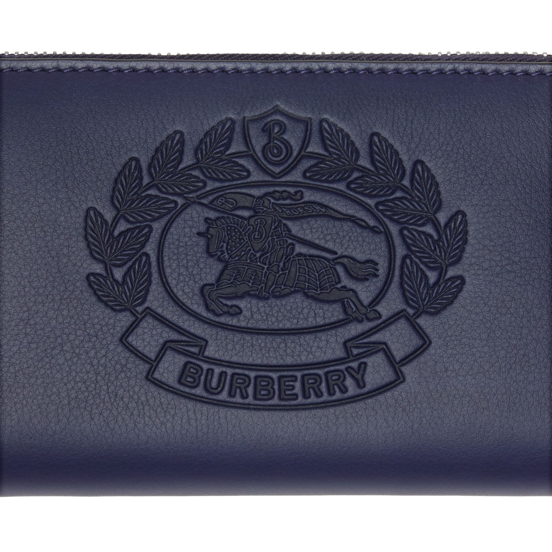 Embossed Crest Two-tone Leather Ziparound Wallet in Regency Blue - Women | Burberry - gallery image 1