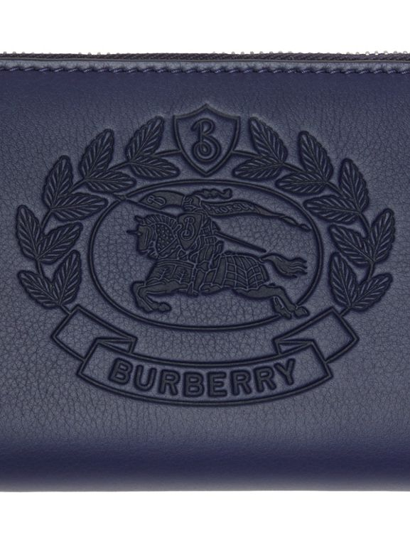 Embossed Crest Two-tone Leather Ziparound Wallet in Regency Blue - Women | Burberry - cell image 1
