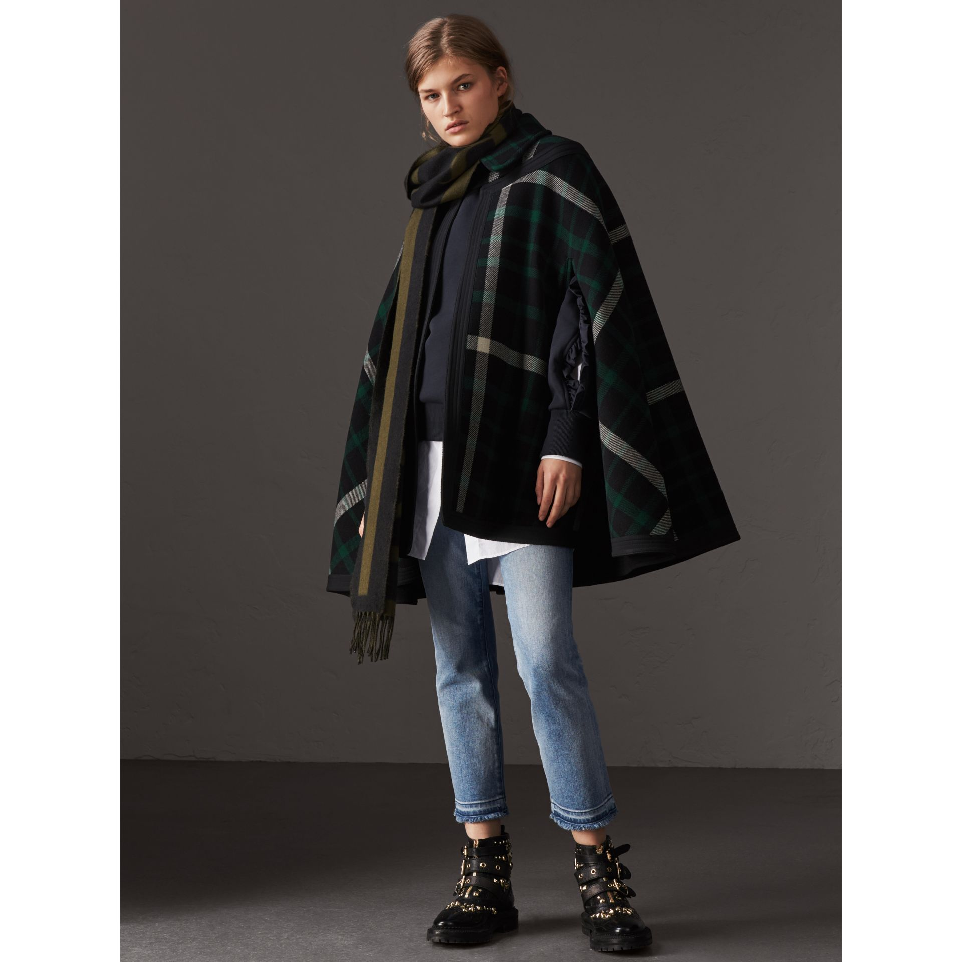 Exploded Tartan Wool Cape in Black/black - Women | Burberry - gallery image 1