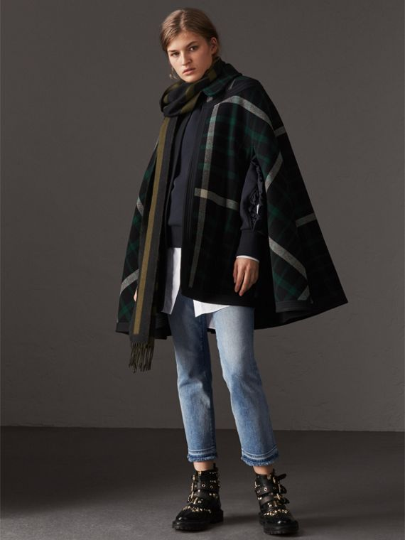 Exploded Tartan Wool Cape in Black/black