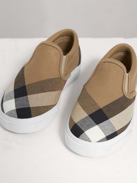 House Check and Leather Slip-on Sneakers in Classic/optic White | Burberry United States - cell image 3