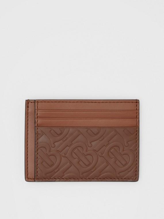Monogram Leather Money Clip Card Case in Dark Tan