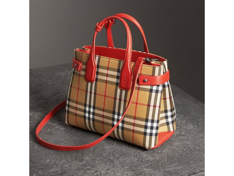 The Small Banner in Vintage Check and Leather in Bright Red - Women | Burberry - cell image 4