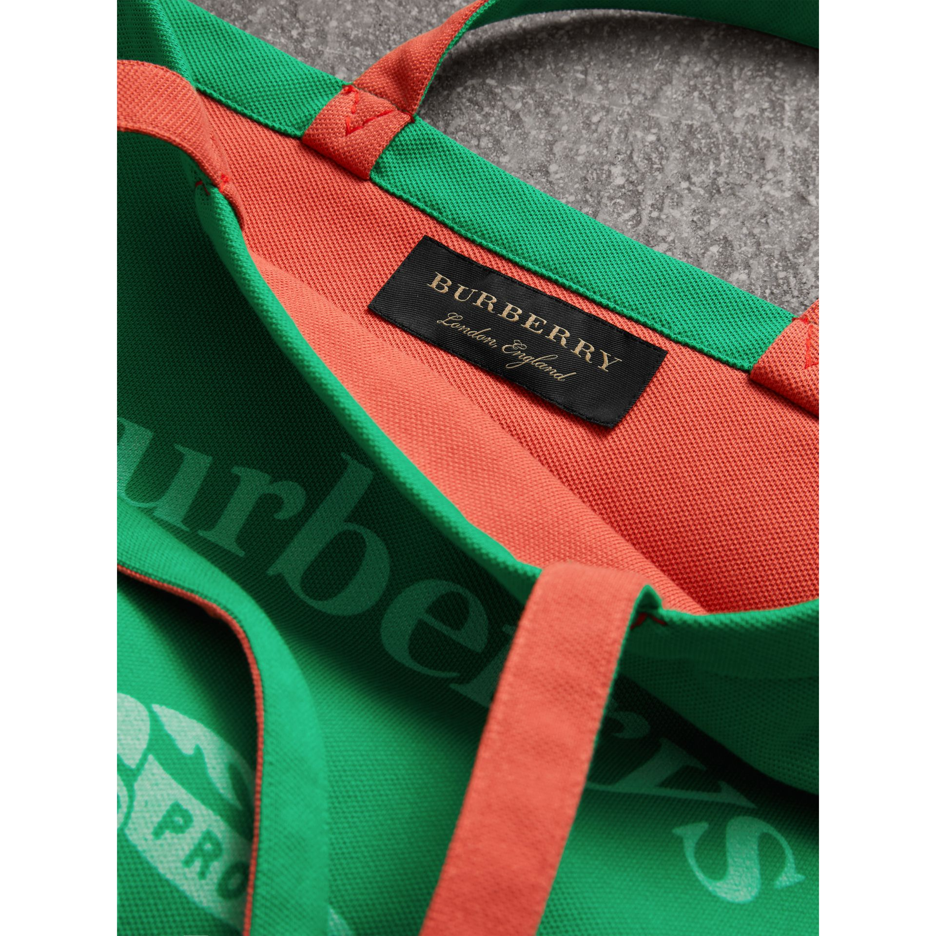 Large Archive Logo Jersey Shopper in Bright Green | Burberry - gallery image 8