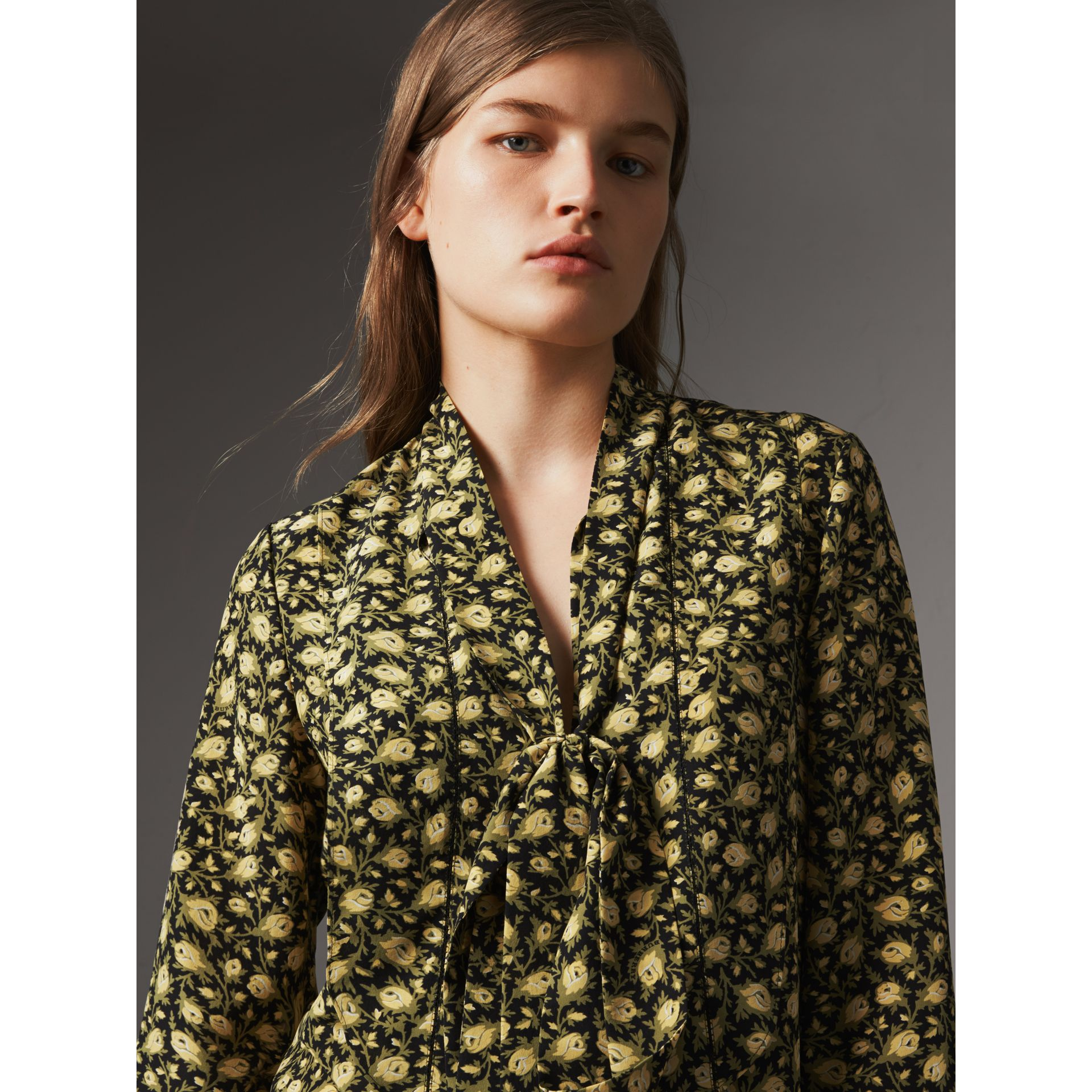 Pussy-bow Floral Silk Longline Blouse in Pale Saffron Yellow - Women | Burberry - gallery image 2
